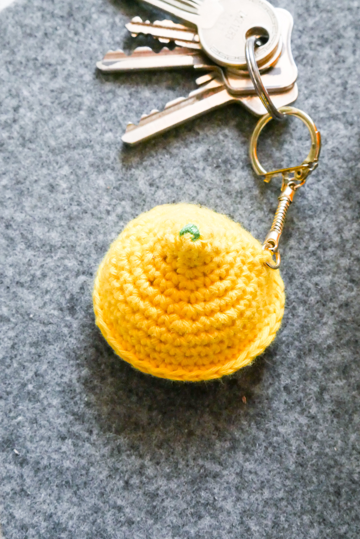 Schlüsselanhänger Zitrone- sommerliche Häkelanleitung