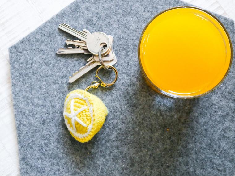 Häkelanleitung für einen Schlüsselanhänger- halbe Zitrone Häkeln