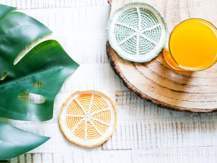 Untersetzer häkeln- Sommerliches DIY- Zitrone und Limette- kostenlose Anleitung