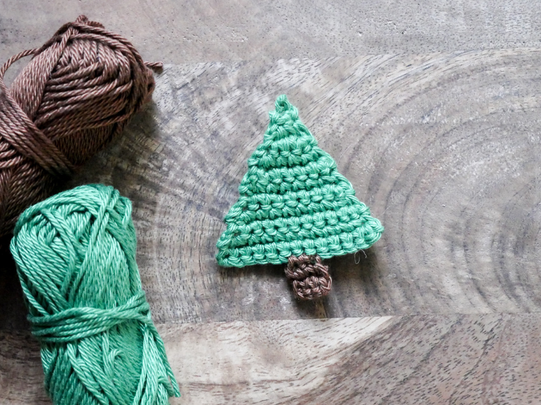 Weihnachten Häkeln Applikation Tannenbaum