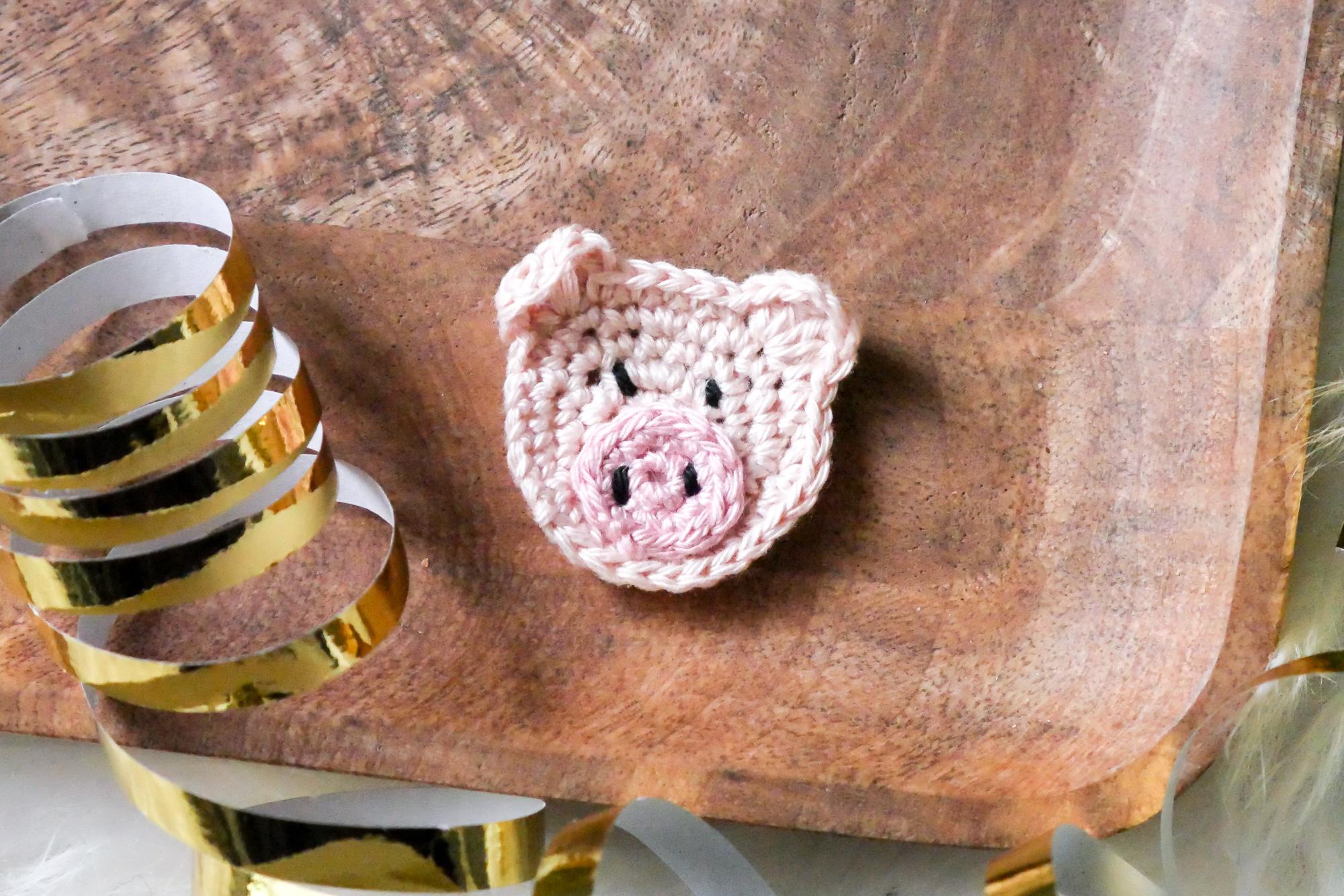 Schweine-Aufnäher häkeln