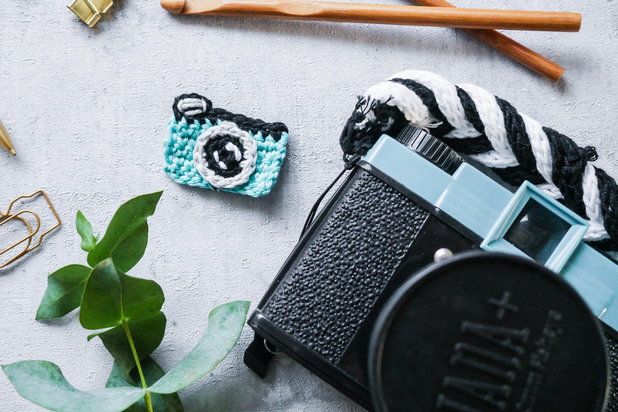 Aufnäher Kamera Häkeln- Kamera Applikation