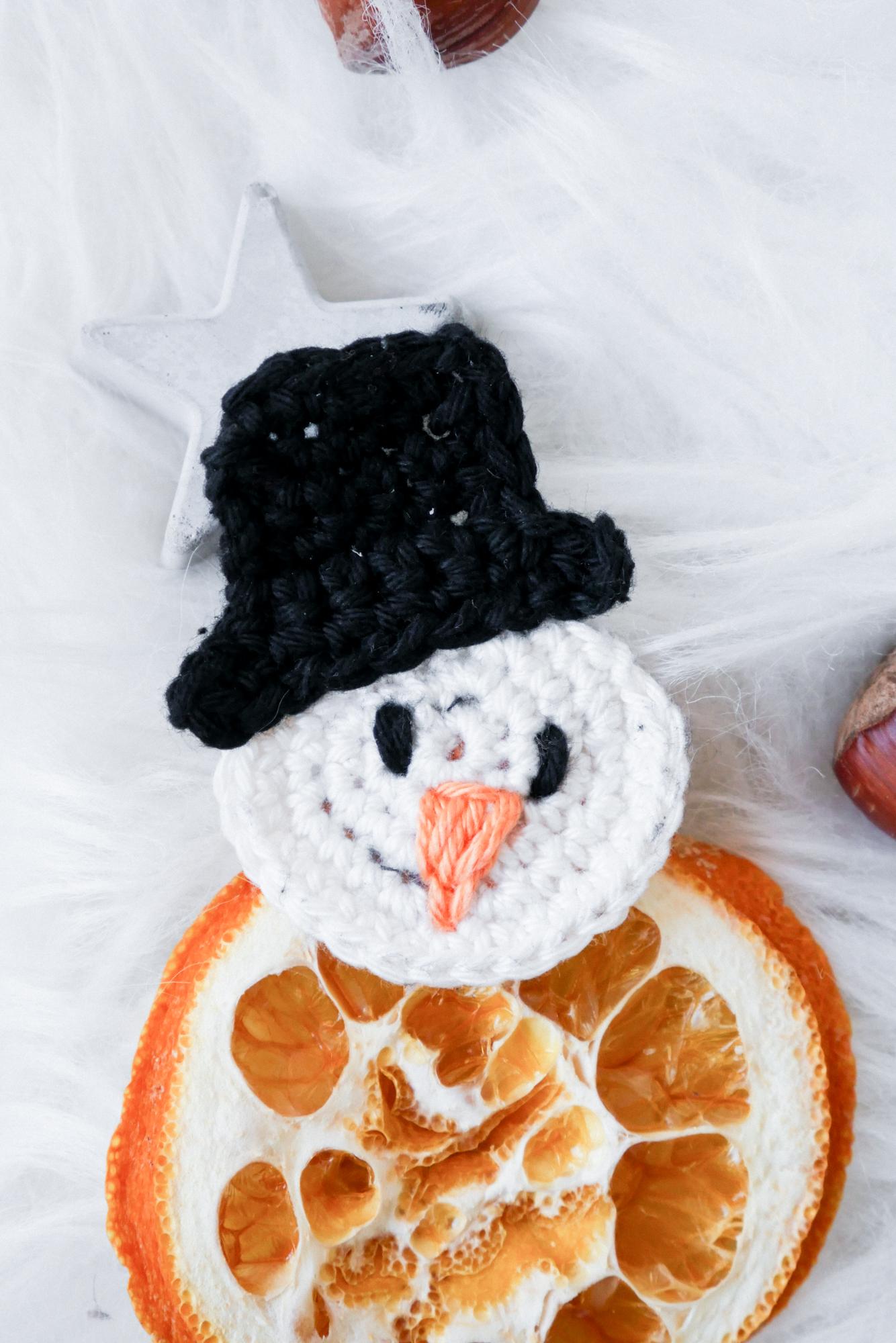 Schneemann Aufnäher Weihnachten häkeln