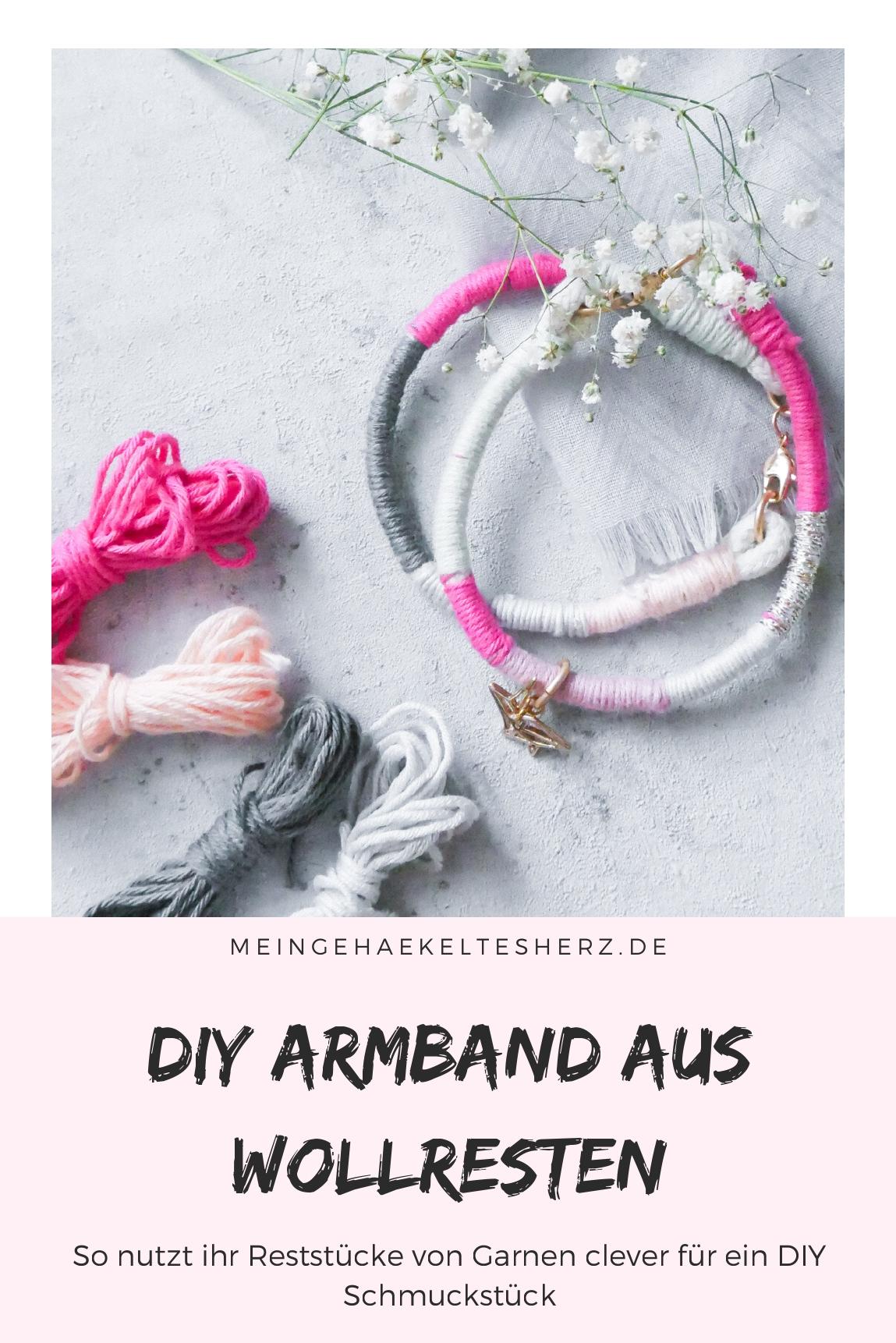 Armband selbst machen- Wollreste verbrauchen