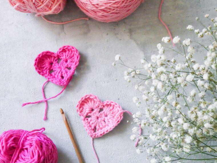 Herzen Häkeln- Grannysquare Herzen DIY