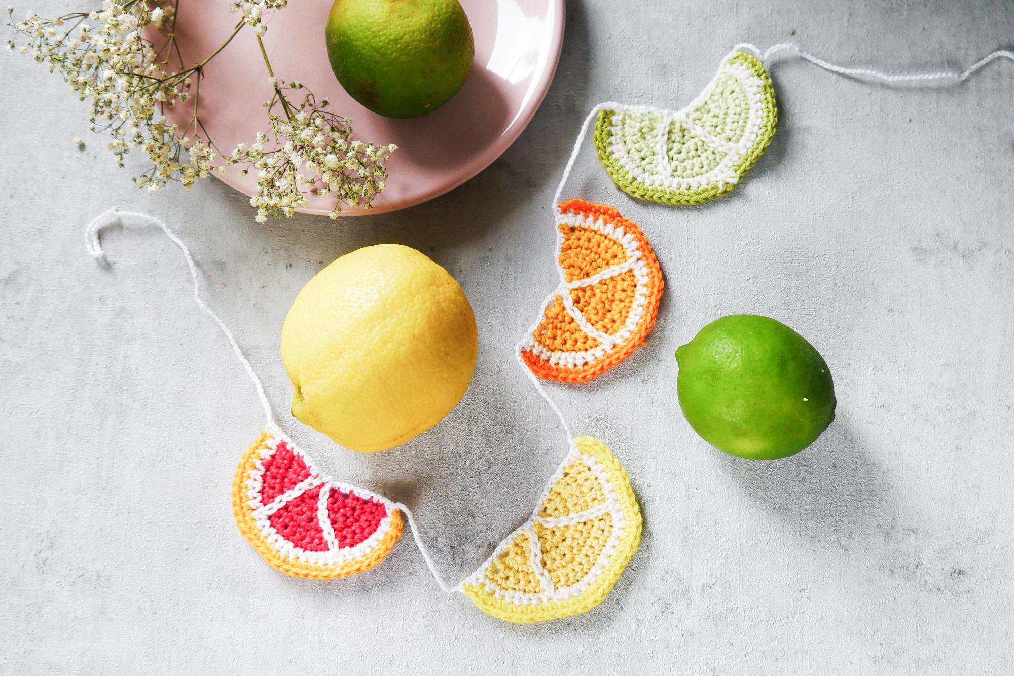 Zitronen Girlande- kostenfreie Häkelanleitung