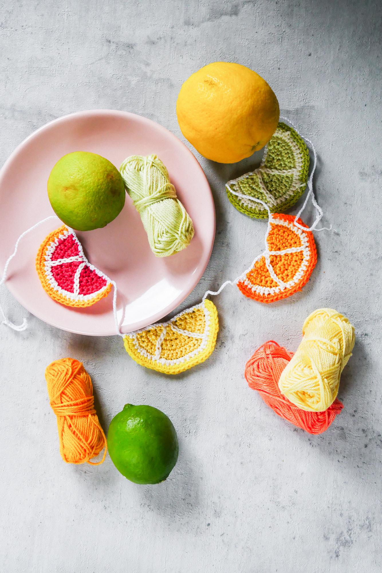 Zitronen Girlande- sommerliche Häkelanleitung